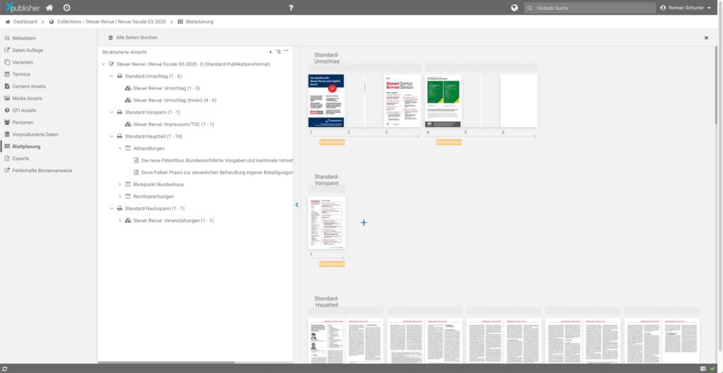 Crossmediales Publizieren: in der Blattplanung werden die Inhalte für jedes gewünschte Produkt in die richtige Form gebracht.