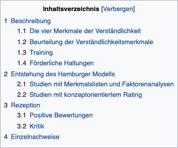 Das Bild zeigt ein Beispiel eines Wikipedia-Artikels. Alle Abschnitt-Titel sind in einem Inhaltsverzeichnis am Anfang der Seite aufgeführt und direkt anklickbar.